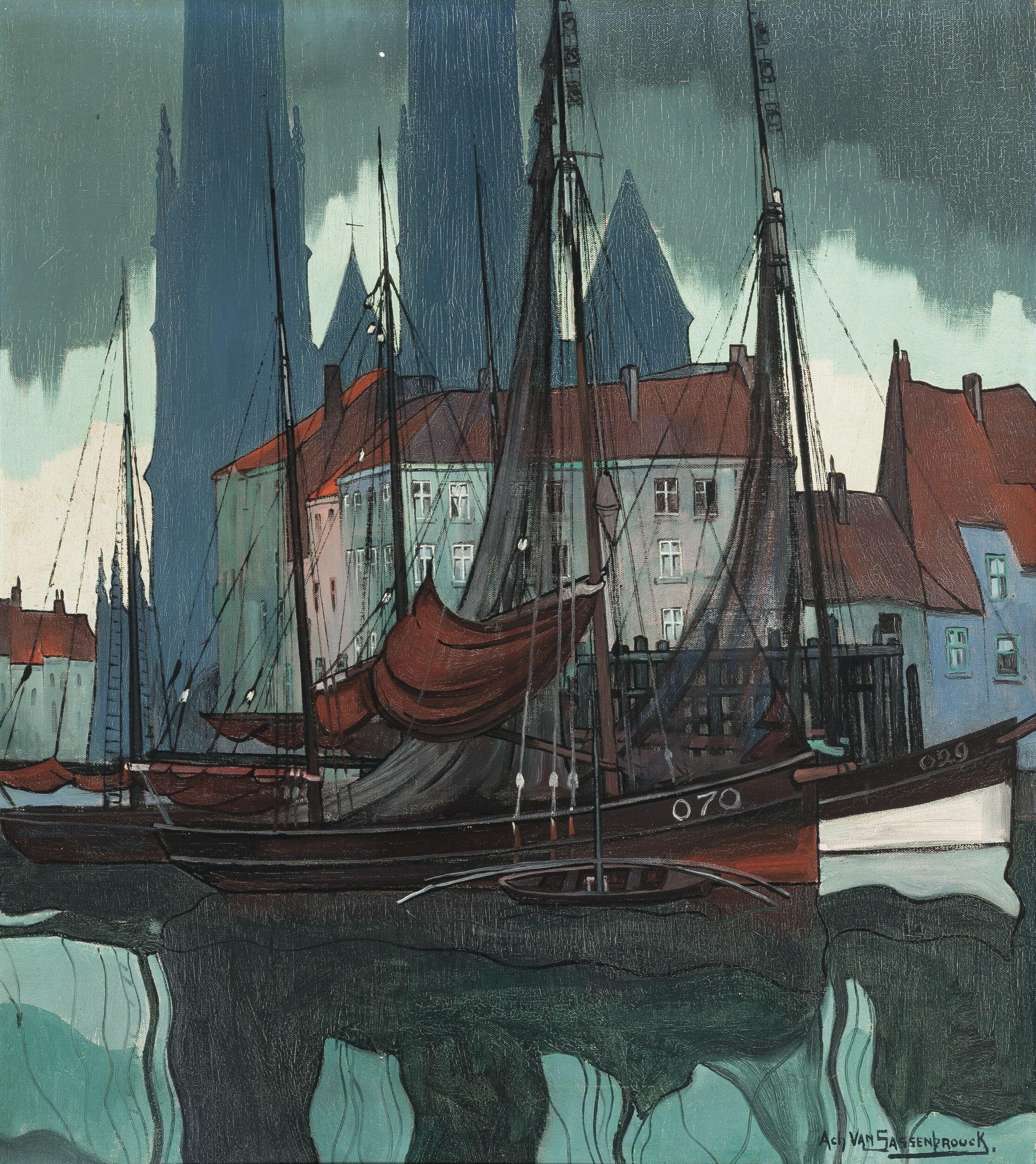 De Visserskaai en het vissersdok te Oostende door Achille Van Sassenbrouck