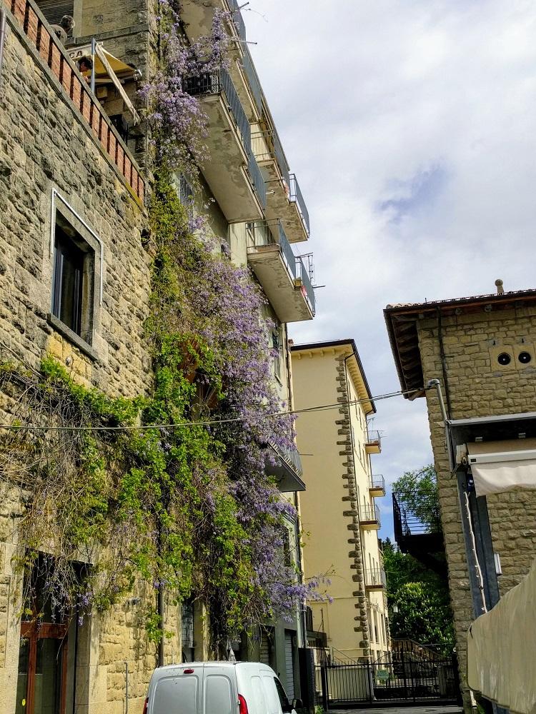 San Marino - typisch straatje met blauwe regen
