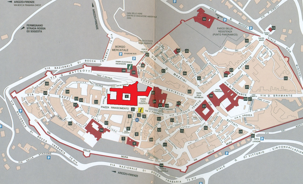 Plattegrond van Urbino